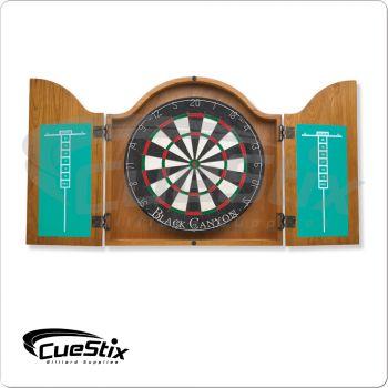 40-0255 Arched Oak Dart Board Cabinet